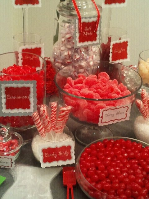 red candy buffet