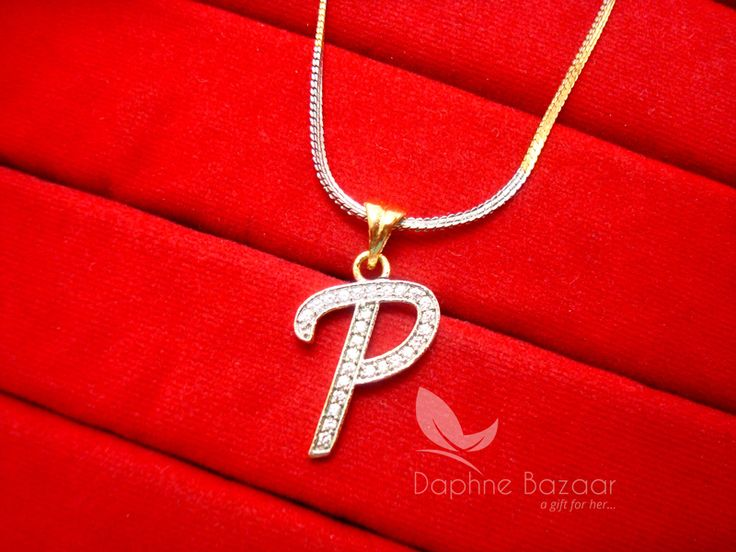 P - Alphabet, Daphne Zircon Pendant for Men or Women