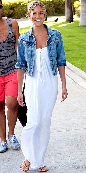 LOVE this white maxi dress with a denim jacket.