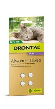 Bayer Drontal Cat Tablets 4 Tab - Drontal is Australias number 1 vet recommended allwormer for dogs and cats. Drontal Allwormer controls all gastrointestinal worms in cats including roundworm, hookworm and tapeworm.