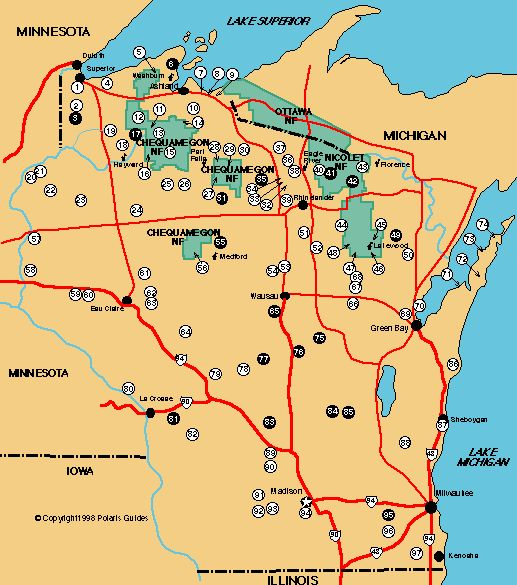 Cross country ski trails of Wisconsin