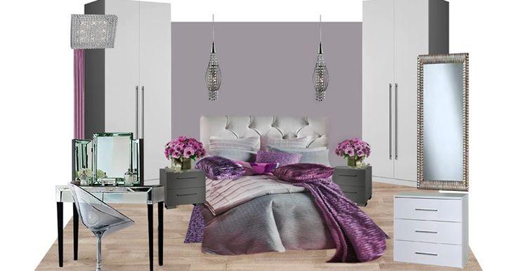 Дизайн спальни в розовых и фиолетовых оттенках