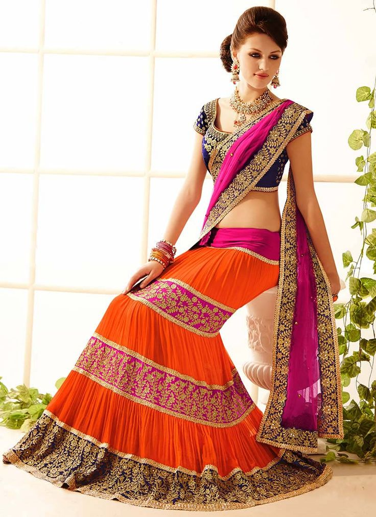 Love the color combo, Orange And Magenta With a splash of navy blue
