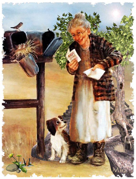 Vieille femme devant la boite à lettres - image animée