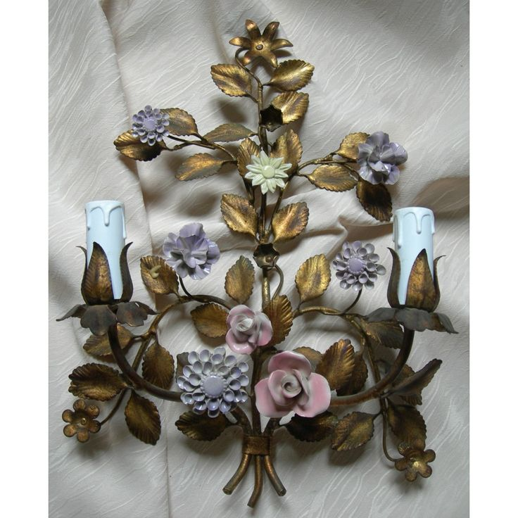 Wall Sconces With Flowers: 10+ Images About Italian Floral Tole Lamps And Lighting On