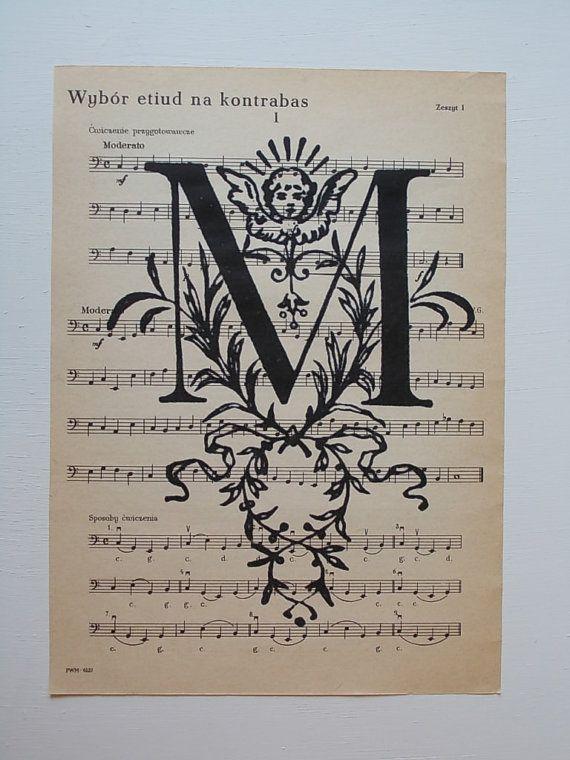 Stampa d'epoca lettera M / Stampa foglio di musica di EUvintage
