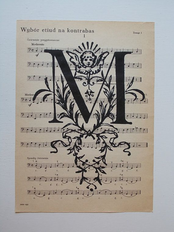 Vintage Letter M Print / Print on Vintage Music Sheet by EUvintage, $7.00