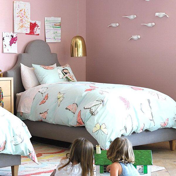Those birds on the wall!!! Girls' bedding from DwellStudio