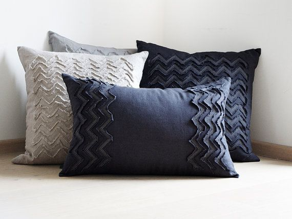 Lumbar pillow cover hand made of dark charcoal by LovelyHomeIdea