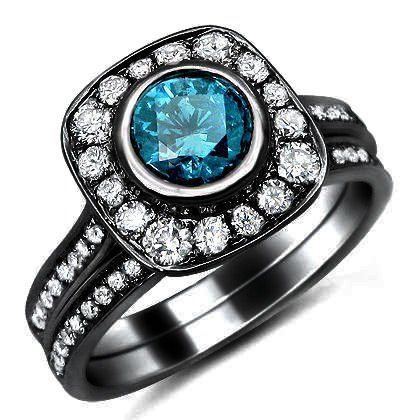 Blue Diamond Engagement Ring In Black Gold