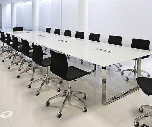 Boardroom table - white with a glass top (Elite Glass Table, Glass Conference Table)