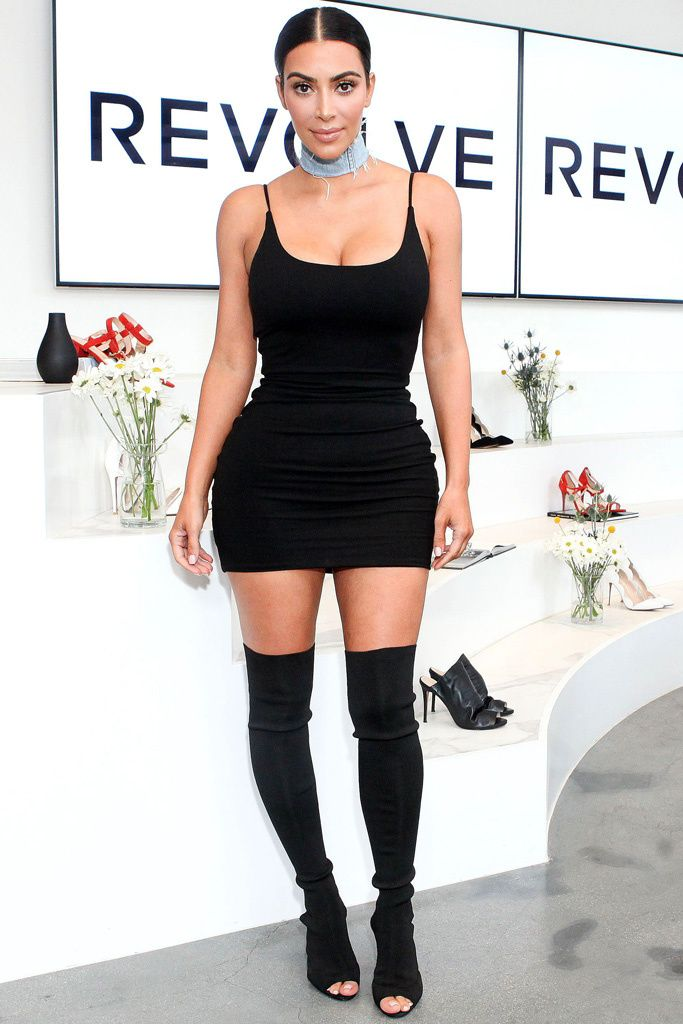 KIM K WEST IN YEEZY SEASON 2 KNIT THIGH HGH
