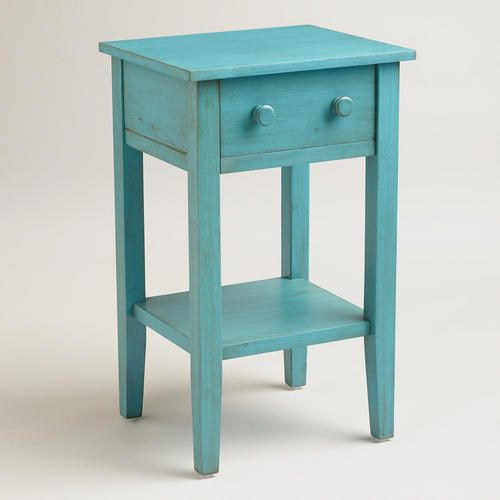 Sara Nightstand at World Market. Lots of colors. On sale. $59.99 / Beach furniture side table / aqua blue coastal decor ideas