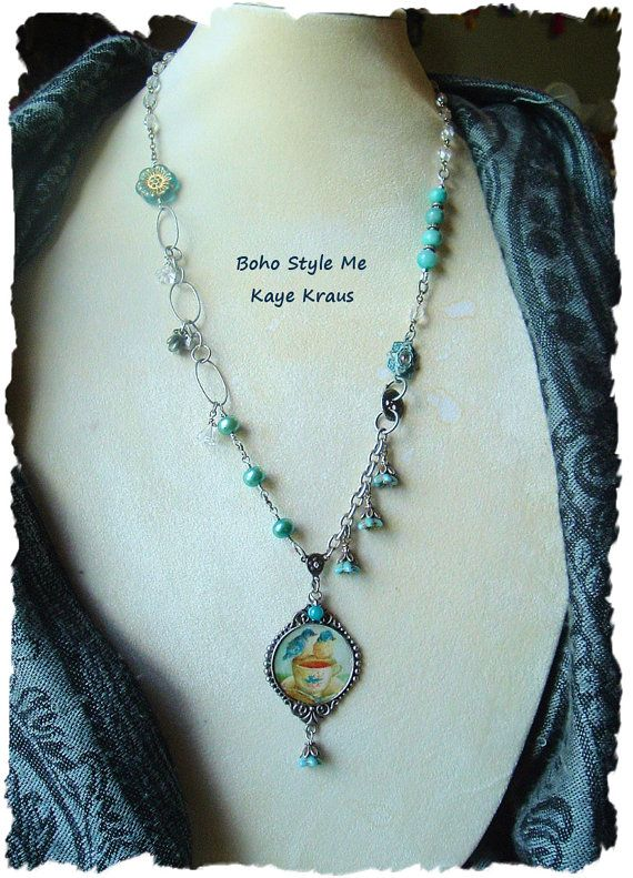 Vintage Style Blue Bird Assemblage Necklace Tea by BohoStyleMe