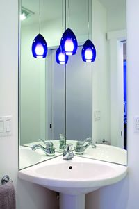 High Quality Corner Pedestal Sink And Around The Corner Mirrors
