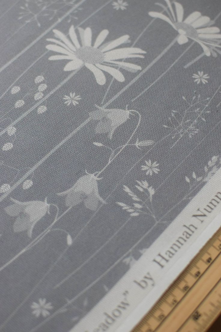 Daisy meadow fabric in moonrise by Hannah Nunn