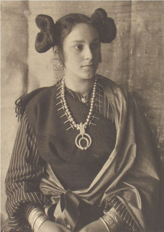 """Adam Clarke Vroman   Hopi Woman, Wearing the """"Squash Blossom"""" Hair Style Traditionally Worn by Unmarried Women   c.1895"""