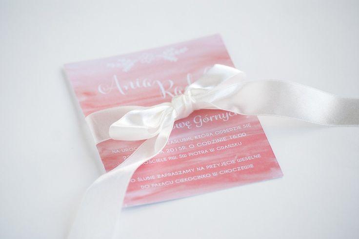 Zaproszenia ślubne - różem malowane