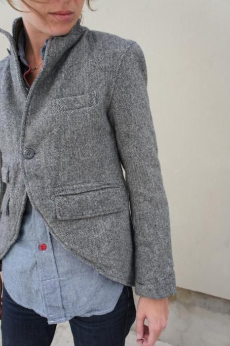 FWK Engineered Garments Edward Jacket: Red Buttons, Outfits, Engine Garment, Style, Grey Blazers, Denim Shirts, Wool Jackets, Fall Jackets, Coats