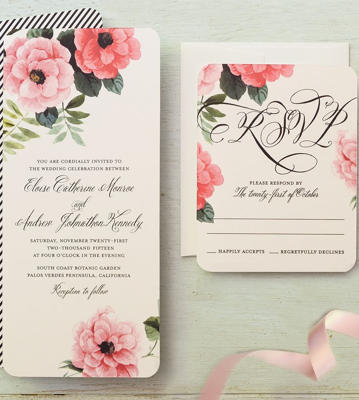A vintage floral wedding invitation and RSVP card by @gartnerstudios for Brides.com. Click to personalize it for your wedding!