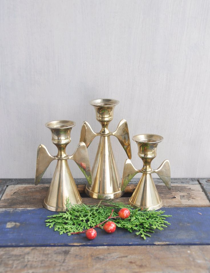 3 Vintage Brass Angel Candle Holders - taper candlesticks - holiday Christmas decoration by CuriosityCabinet on Etsy
