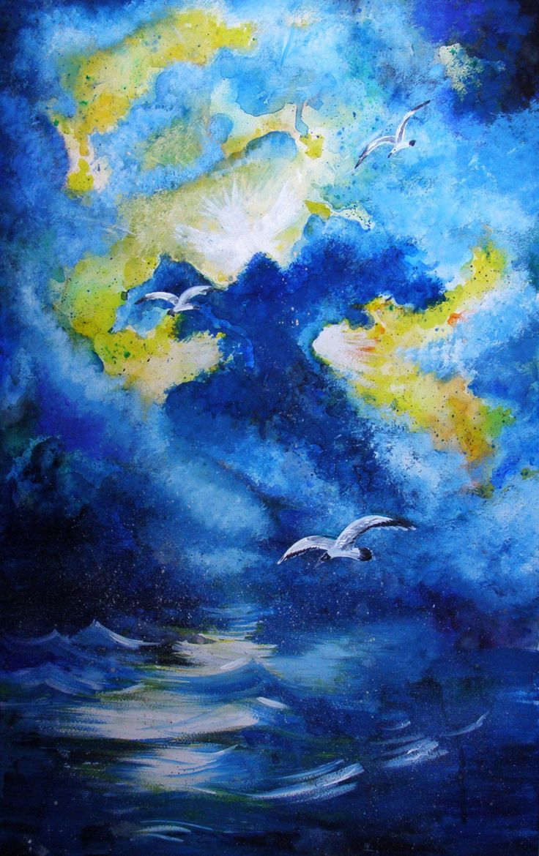 Original watercolor art for sale - Jonathan Livingston Seagull Abstract Storm Painting Original Watercolor Painting 20 30in Fine Art Wall Decor Gift