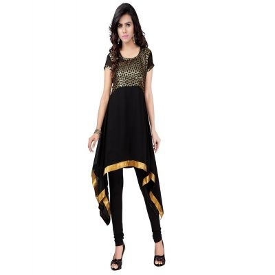 Alluring Black Color Georgette Sequence Cut Kurti