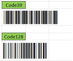 Comparing Code39 and Code128 Barcode Widths