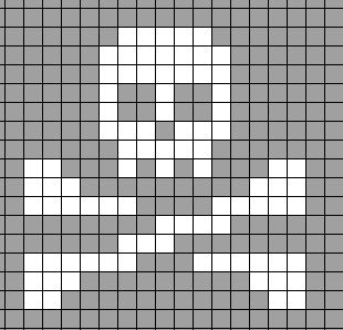 cross stitch chart for skull and crossbones (for my cross stitch pumpkin)