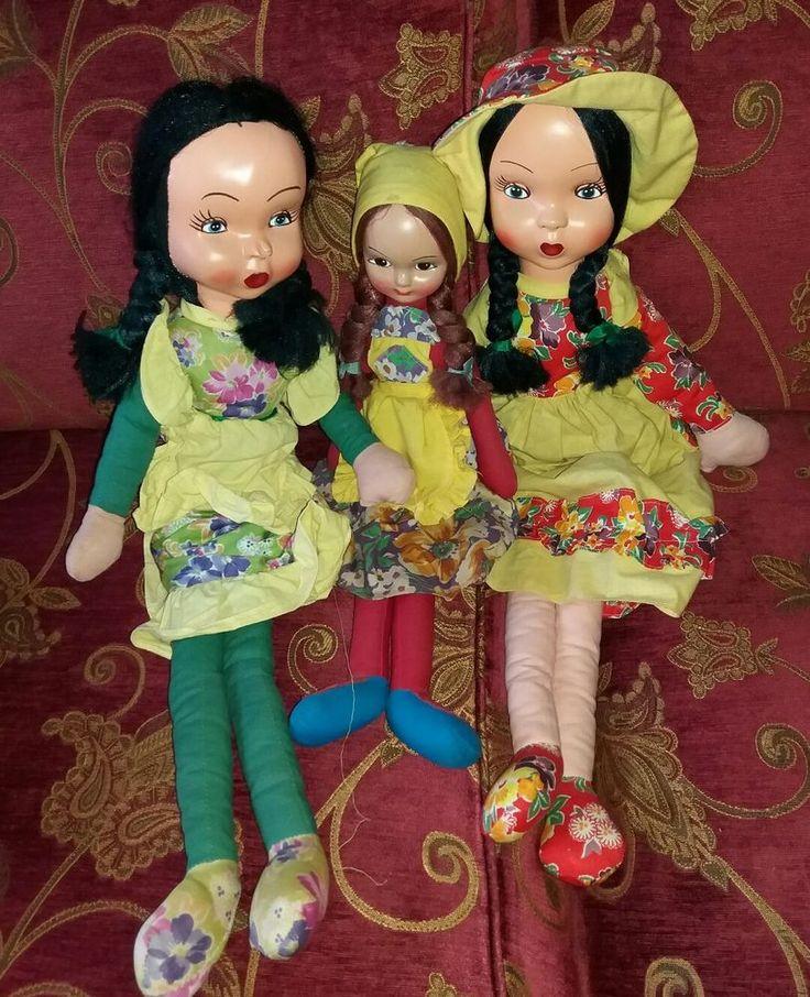 Lotto di tre bambole Ceppiratti con gambe lunghe e visi in celluloide, vintage.