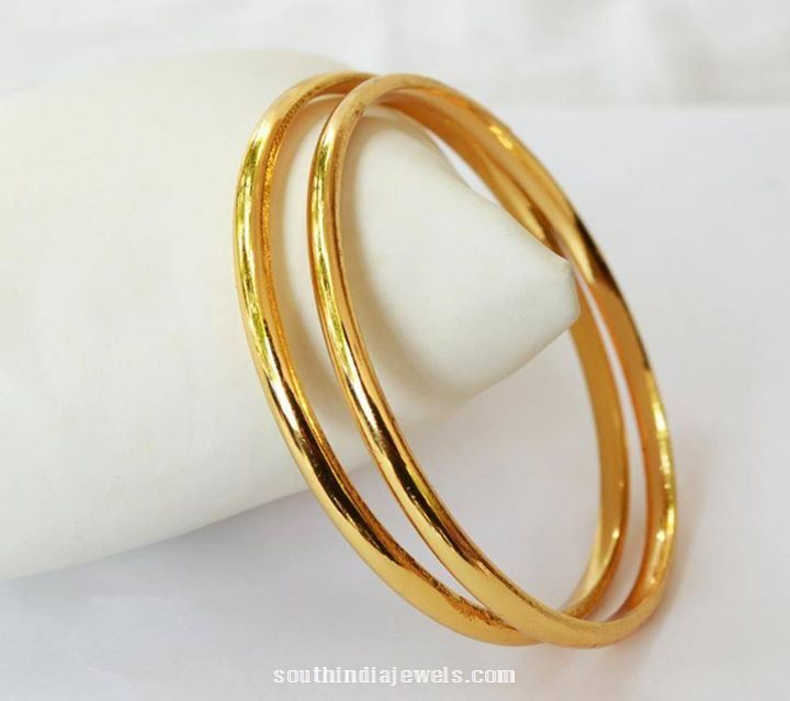 Gold platred plain bangle