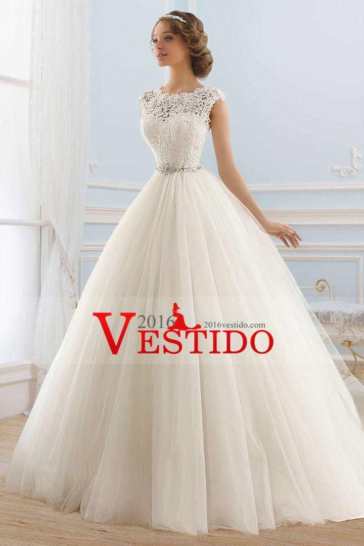 2016 V profundo de la cucharada Volver vestidos de novia de una línea de tul con apliques y faja