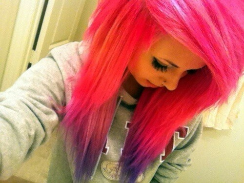 Pink And Purple Hair Styles: Hot Pink Scene Hair With Purple Tips