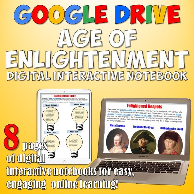 Awesome Age of Enlightenment Google Drive Age Interactive Notebook! Get digital and engage your students with a set of 8 interactive notebook pages on the Age of Enlightenment for World History!