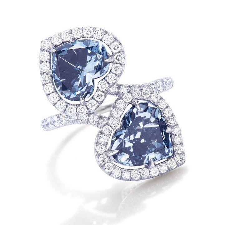 We Love To See How Colored Diamonds Perform At Auctions And Look Forward To The Sale Heart Shaped Rings Heart Shaped Diamond Ring Blue Diamond Engagement Ring