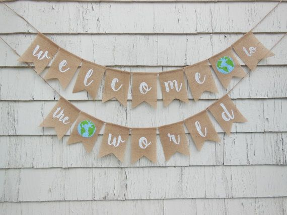 Adventure Awaits Baby Shower, Welcome to the World Baby Shower, Adventure Baby Banner, Travel Baby Shower, World Baby Shower, World Banner