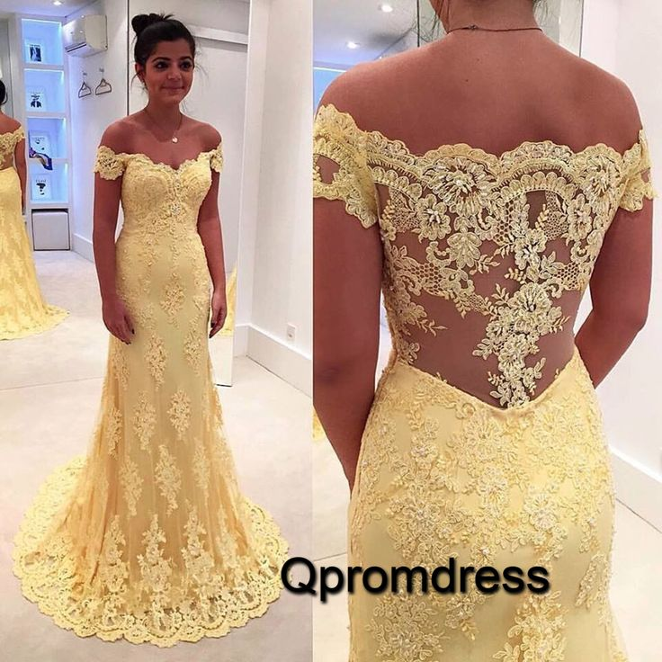 2016 elegant off-shoulder yellow lace prom dress, evening dress for teens, prom dresses long #coniefox #2016prom