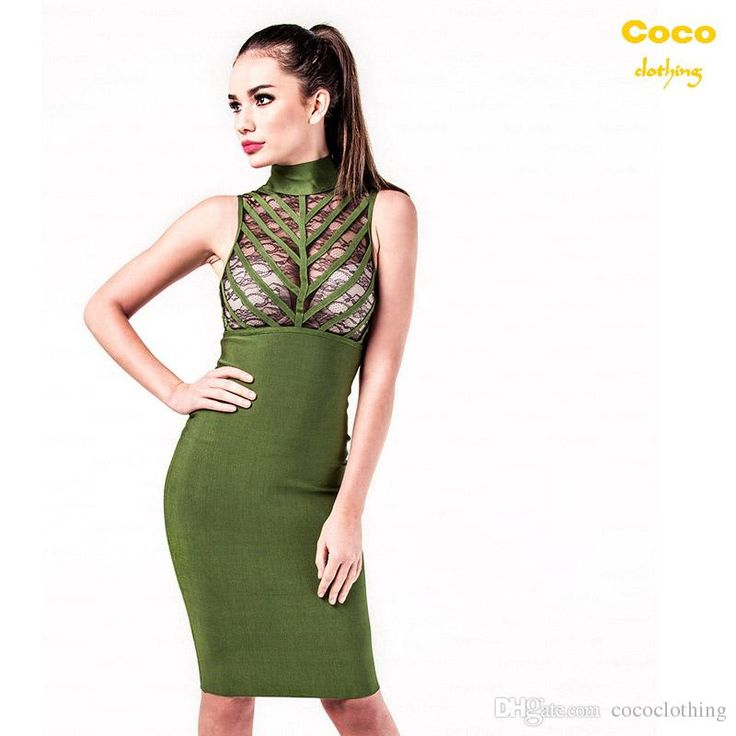2016 Summer New Women'S Sexy Bodycon Slim Dresses Sleeveless High Collar Hollow Army Green Bandage Dresses H1734 Summer Dresses Online Shop Dresses From Cococlothing, $56.97  Dhgate.Com
