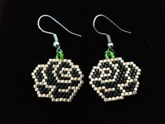 Native American Beaded Earrings BLACK & GOLD ROSES Delica Beads from ...
