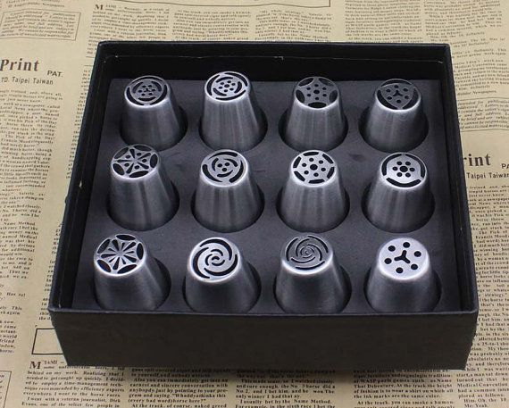 12 PCs Russia Icing Piping Nozzles Pastry Cream Cake by HNGFan