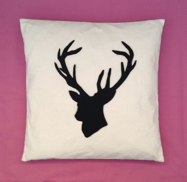 Shabby Chic Christmas Pillows : Stag - Cream Cushion Pillow Cover Black Felt Stag Animal Deer Head Design Shabby Chic Christmas ...