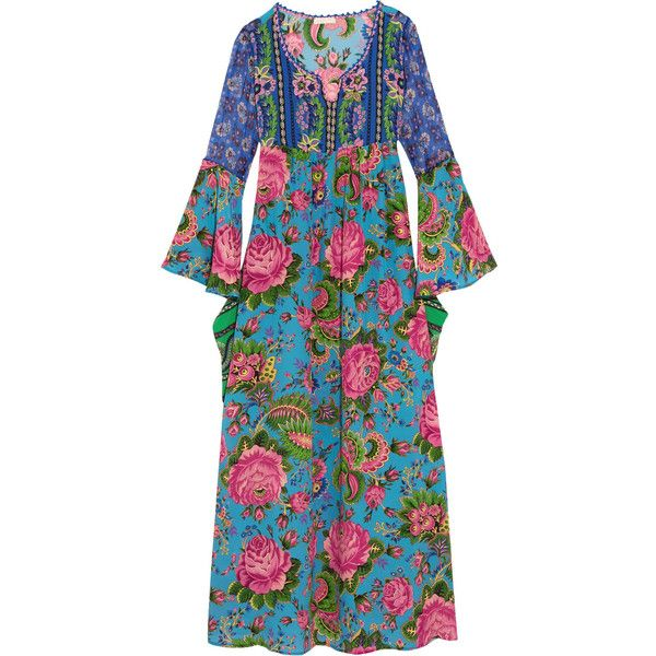 Anjuna Cassiopea chiffon-paneled floral-print silk crepe de chine maxi... ($900) ❤ liked on Polyvore featuring dresses, azure, see through dress, green chiffon dress, chiffon maxi dress, empire waist maxi dress and summer maxi dresses