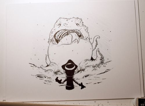 #inktober2016 Day 4: Our space pirate face to face with a very hungry creature #spacepirate