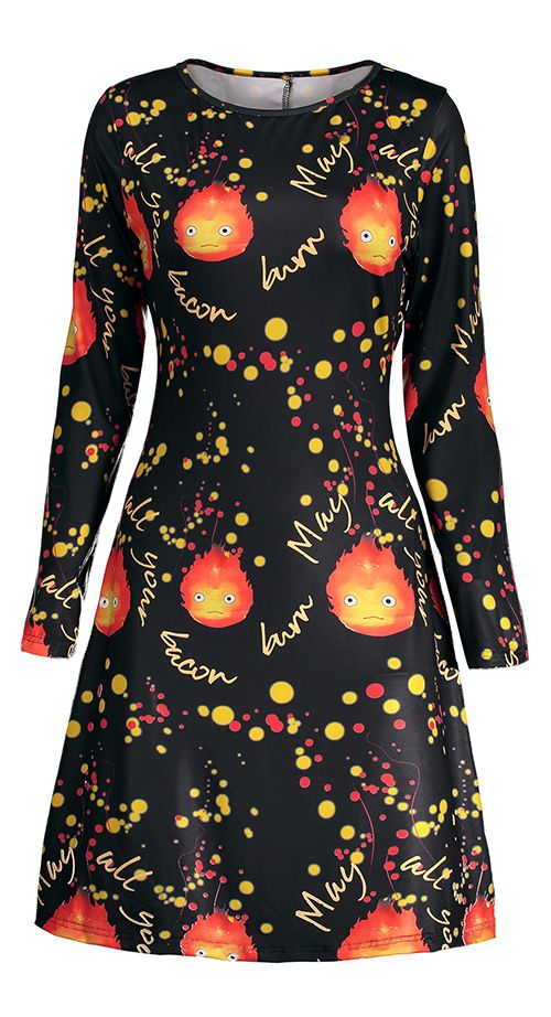 Print dresses:Halloween Fire Print Long Sleeve Tunic Dress