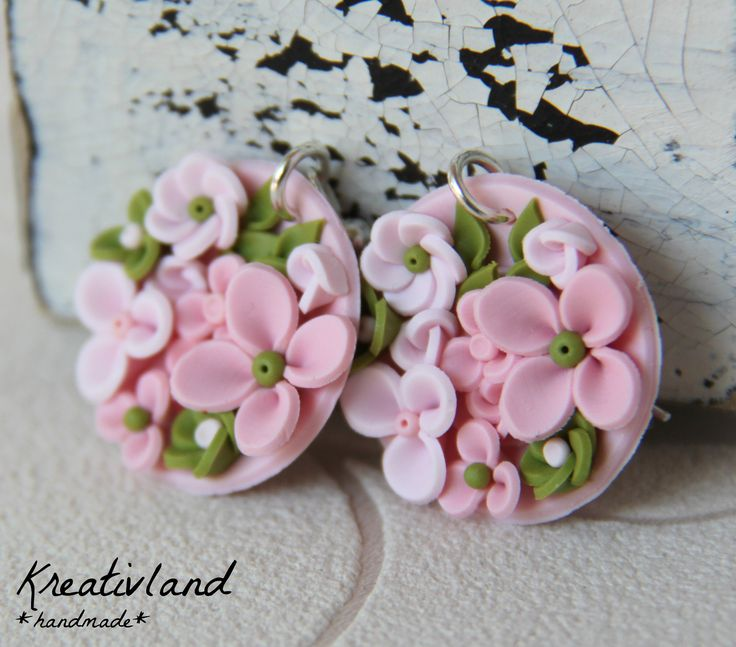 *Potpourri #1*  Bowl shaped earrings filled with various flowers in pink and green shades.