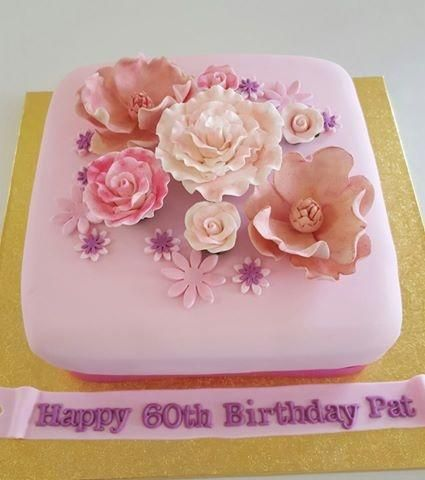 Pink Flower Square Cake - Cake by Creative Cakes - Deborah Feltham