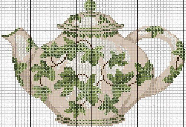 Ivy-covered teapot cross stitch chart.