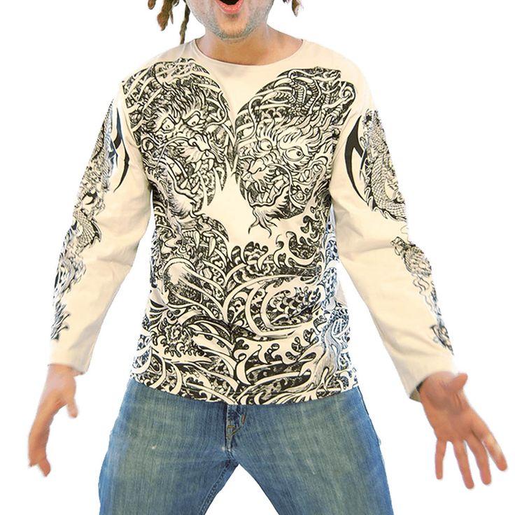 T-shirt hommes à manches longues, imprimés tribaux.  T-shirt en coton pour hommes, coupe droite et large avec col rond, manches longues. Imprimés psychédéliques de style tatouage Maoris représentant des dragons balinais à l'avant et dans le dos..  Long dragon en rappel sur les manches avec fleur de lotus aux poignets.  Matière coton parfait pour la demi saison ou soir d'été.  Design original mode alternative.