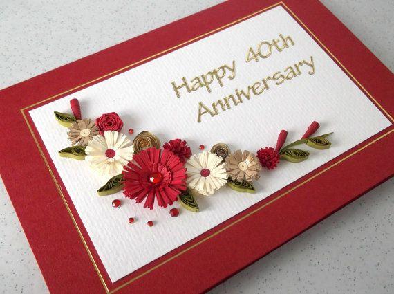 Enclavijada 40 ruby aniversario tarjeta de boda, hecho a mano, papel quilling
