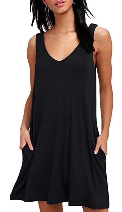 2dbbde77df9 BISHUIGE Swimsuit Cover Up Beach Dresses for Women Black Medium ...